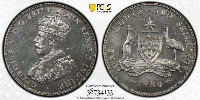 Australia 1934 Melbourne Florin - PCGS PR65+