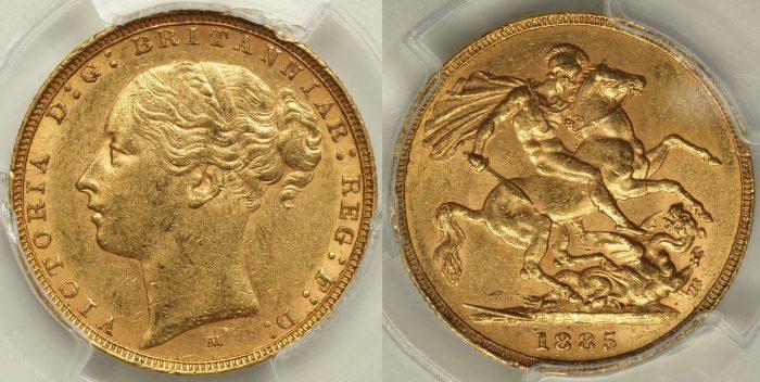 Australia 1885 Melbourne Sovereign - PCGS AU58