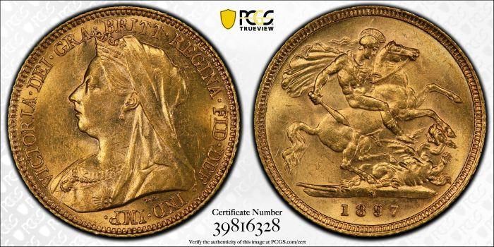Australia 1897 Sydney Half Sovereign - PCGS AU58