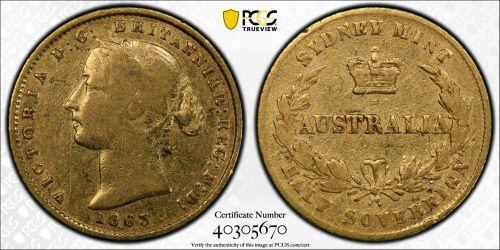 Australia 1863 Sydney Half Sovereign - PCGS VF Details