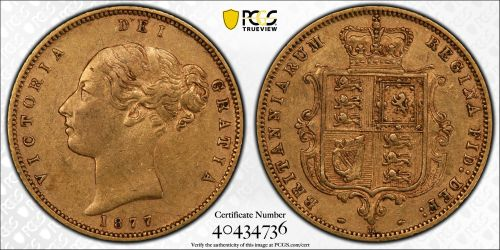 Australia 1877 Melbourne Half Sovereign PCGS AU50 Ex-RBA