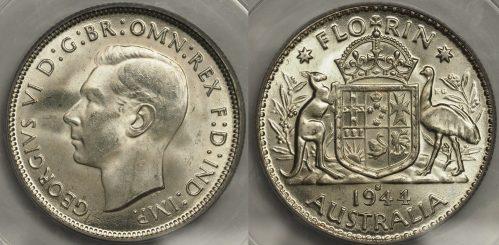 Australia 1944S Florin - PCGS MS65