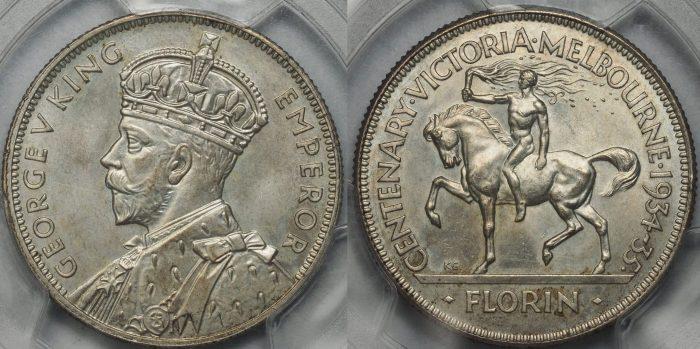 Australia 1934-35 Florin PCGS MS65