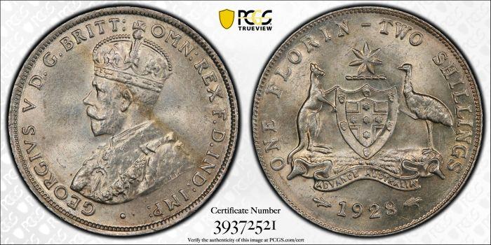 Australia 1928 Florin - PCGS MS63