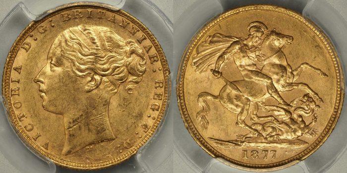 Australia 1877 Melbourne Sovereign - PCGS MS61