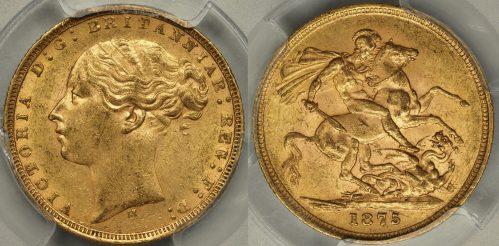Australia 1875 Melbourne Sovereign - PCGS MS61