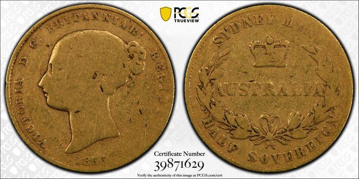 Australia 1856 Sydney Half Sovereign - PCGS VG10