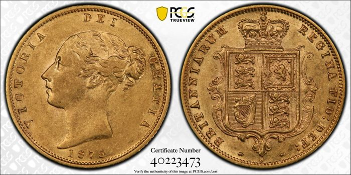 Australia 1875 Sydney Half Sovereign - PCGS AU53