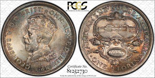 Australia 1927 Florin - PCGS MS64