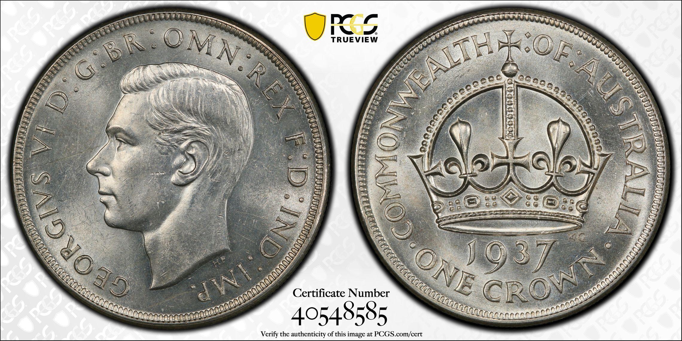 Australia 1937 Crown PCGS MS62