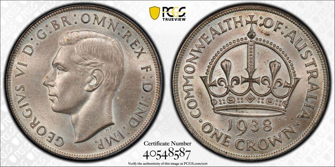 Australia 1938 Crown PCGS MS62