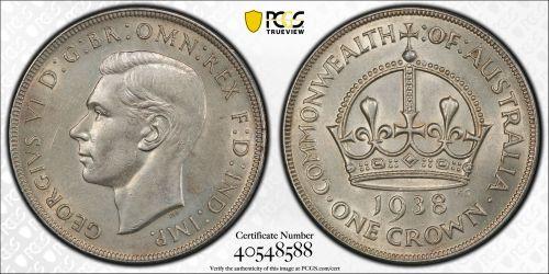 Australia 1938 Crown PCGS AU Details