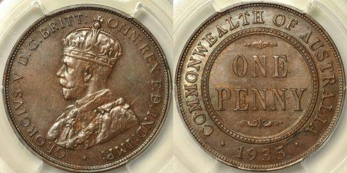 Australia 1935 Penny - PCGS MS62NB