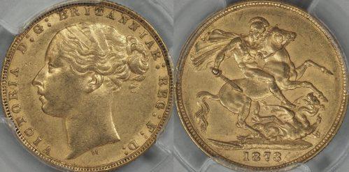 Australia 1873 Melbourne Sovereign - PCGS AU58