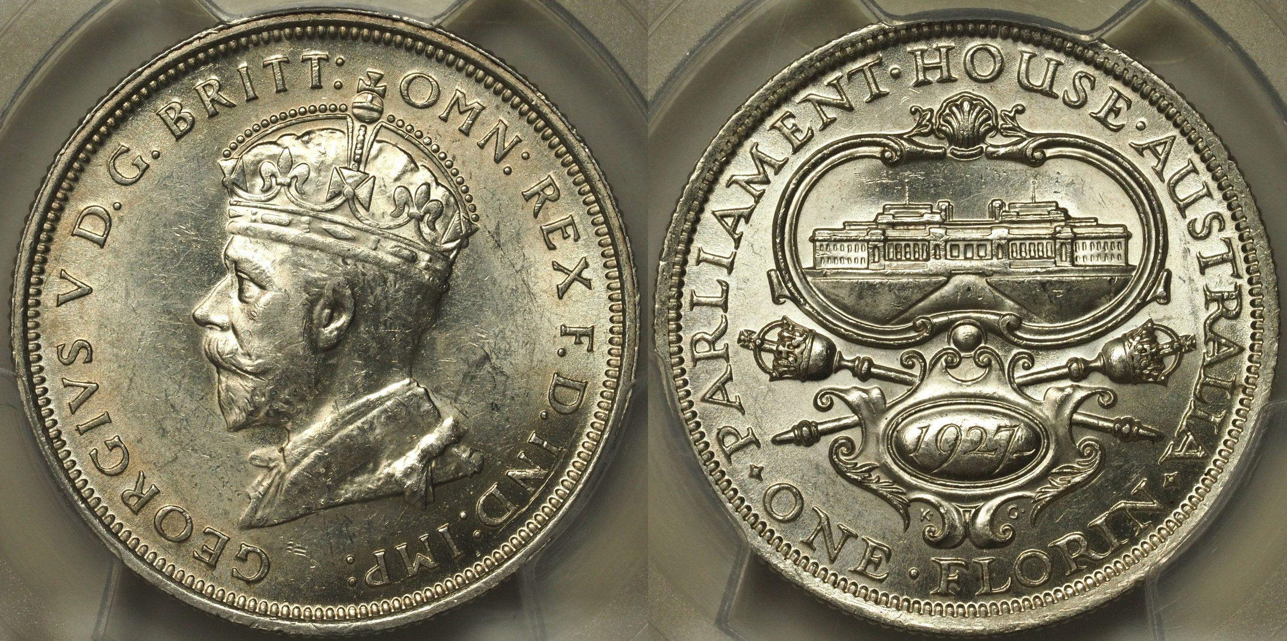 Australia 1927 Florin - PCGS MS62