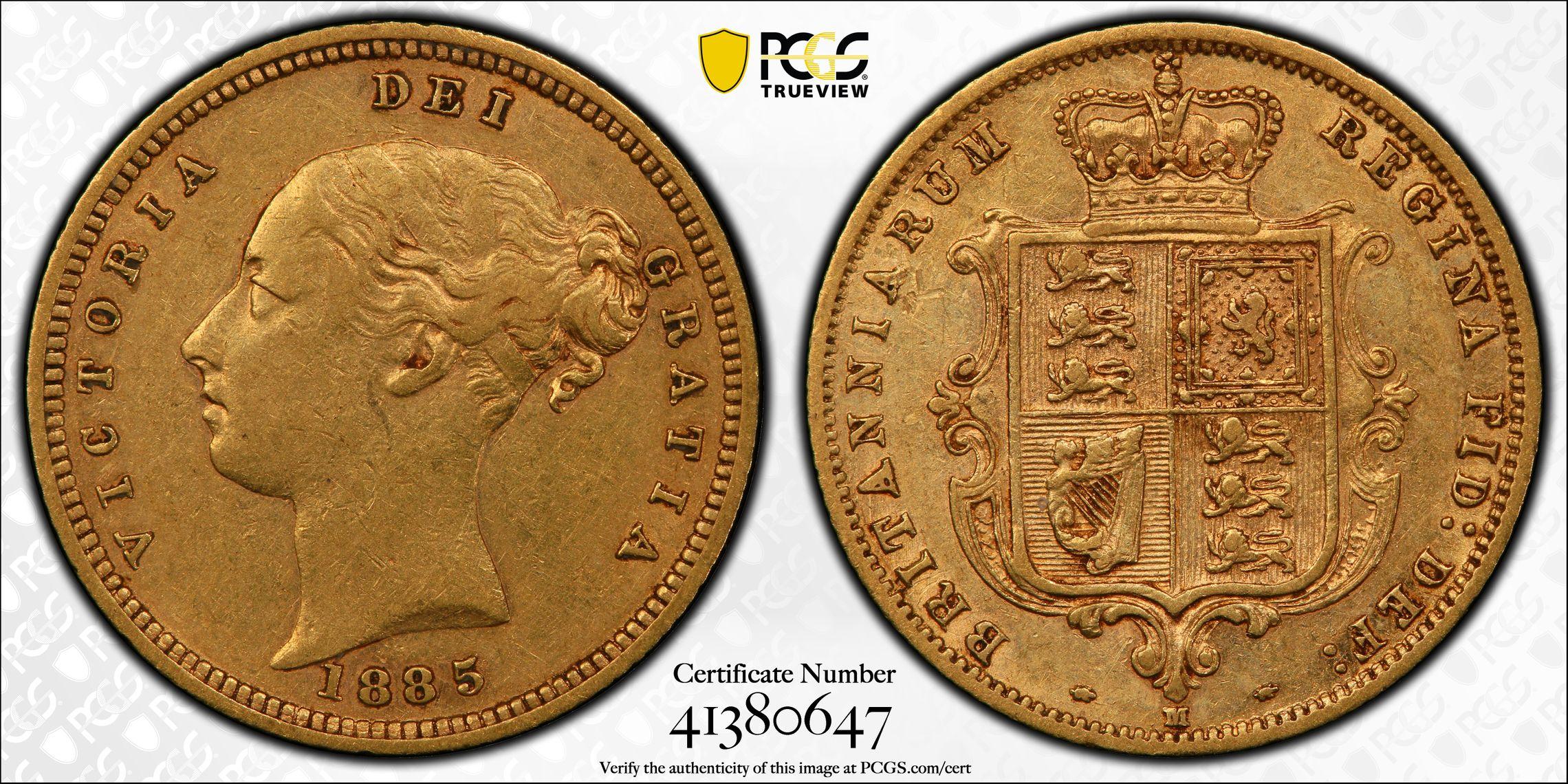 Australia 1885 Melbourne Half Sovereign PCGS AU50