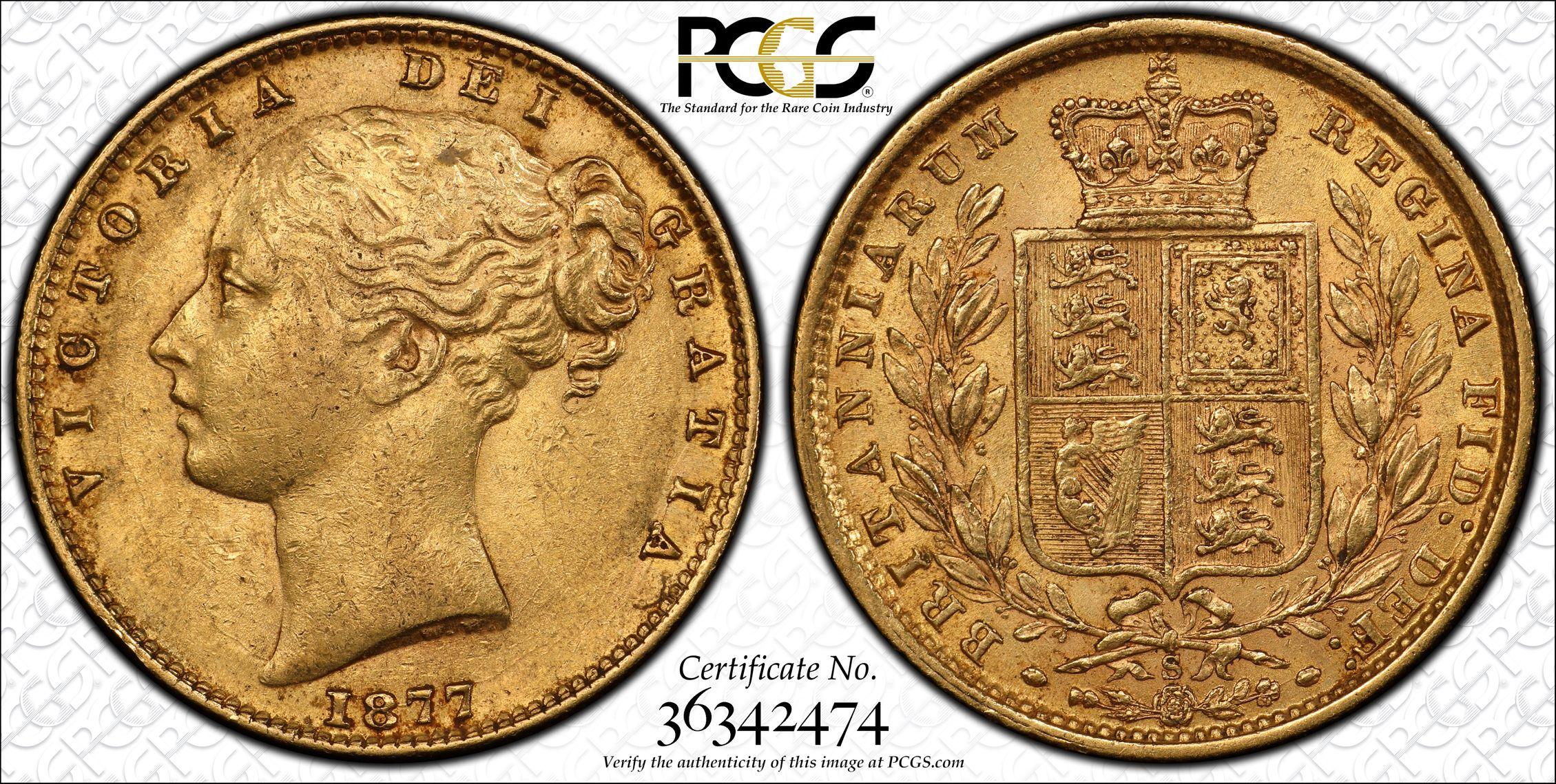 Australia 1877 Sydney Sovereign PCGS AU55