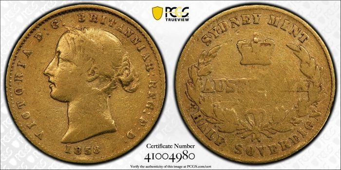 Australia 1858 Sydney Half Sovereign PCGS VF20