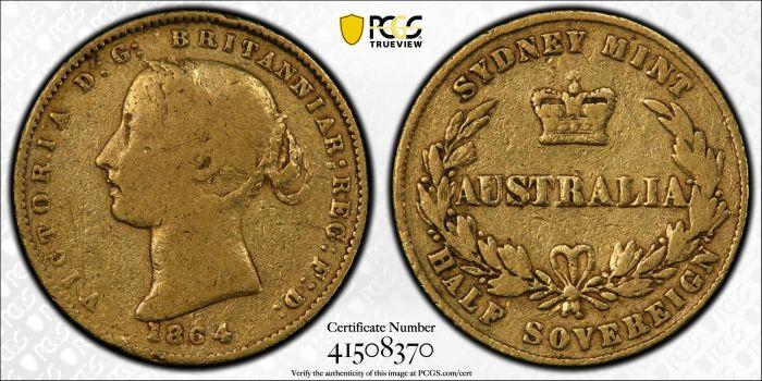 Australia 1864 Sydney Half Sovereign - PCGS F12
