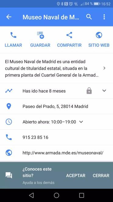 Datos ubicación en Google Maps