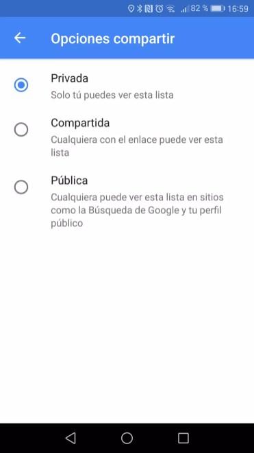 Publica Nueva lista en Google Maps
