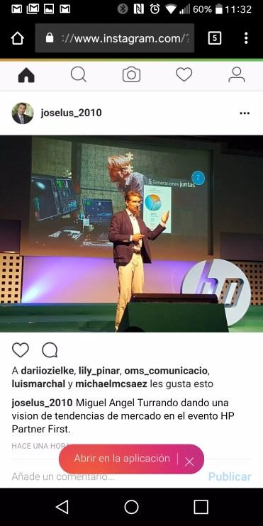 Interfaz de Instagram en navegador mívil