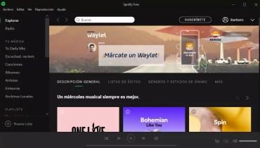 Interfaz Spotify en Tienda Winows