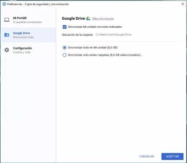 Opciones incluidas en Google Copia de Seguridad y Sincronización