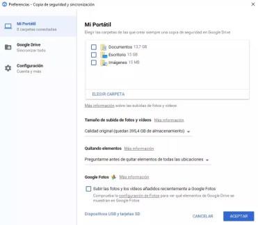 Seleccion Google Copia de Seguridad y Sincronización