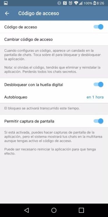 Código acceso activado Telegram