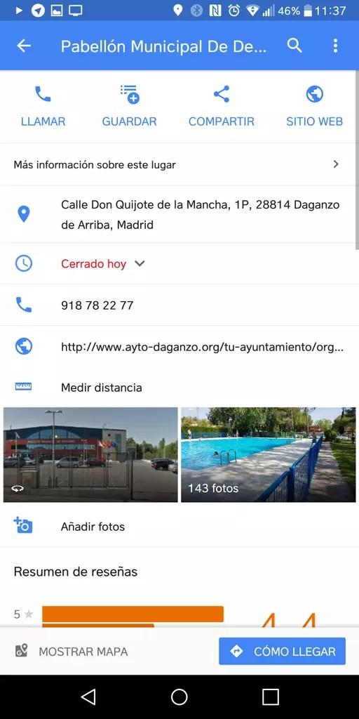 Medir distancia en la aplicación Google Maps