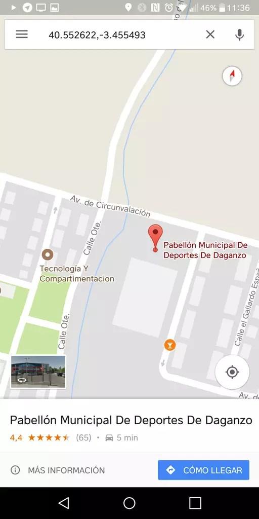 Punto inicial en Google Maps