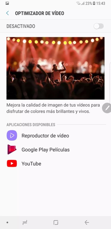Optimizador video Samsung Galaxy Note 8