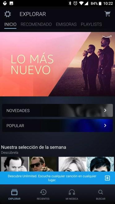 Interfaz de Amazon Music Unlimited