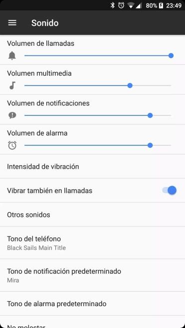 Opciones de sonido del teléfono BQ Aquaris X Pro