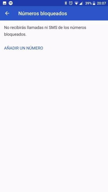 Opciones de la aplicación teléfono del BQ Aquaris X Pro