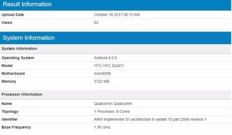Test Geekbench del HTC U110 Plus