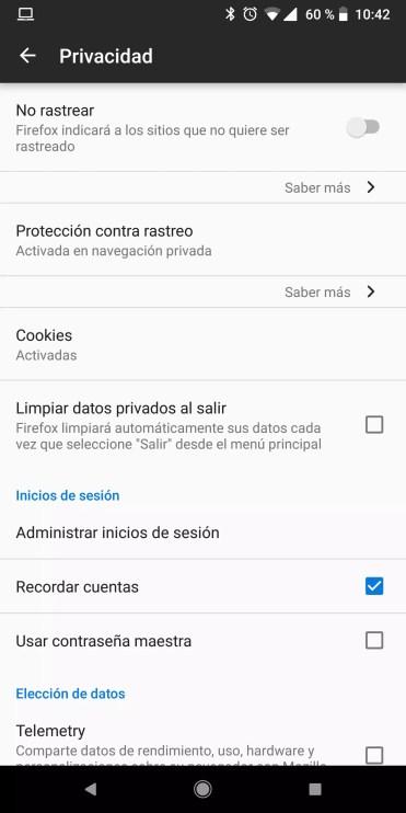 Opciones Firefox Quantum