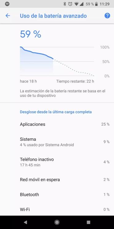 Estimación de la duración de la batería en Android Oreo