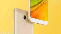 Xiaomi Redmi 5Plus con fondo amarillo