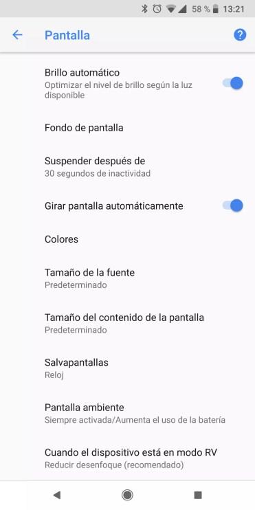 Gestión pantalla teléfono Android