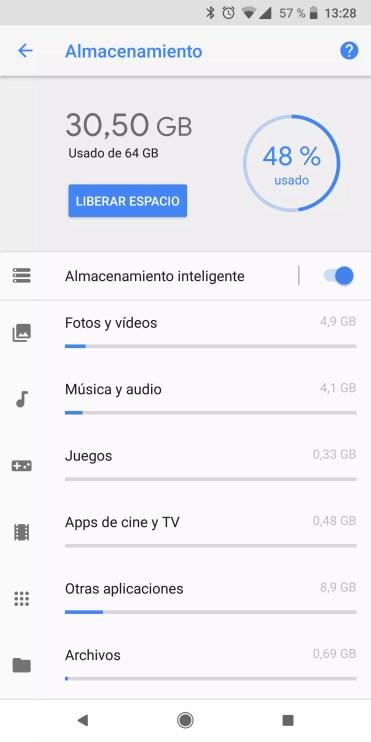 Almacenamiento teléfono Android