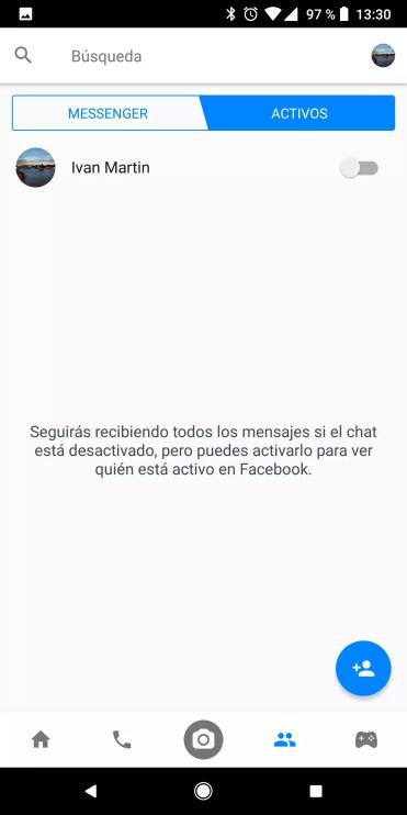 Ocultar actividad Facebook Messenger