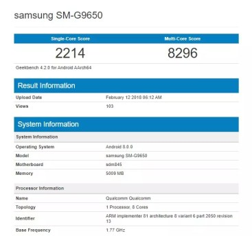 Samsung Galaxy S9 Geekbench co Snapdragon 845