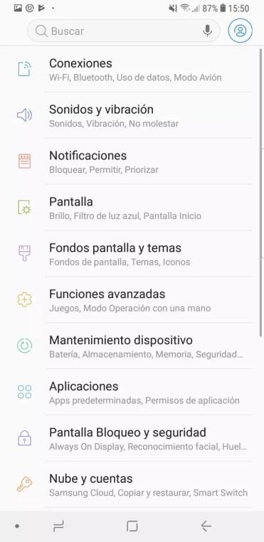 Ajustes del Samsung Galaxy S9