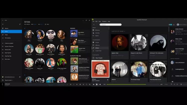 Interfaz de Spotify