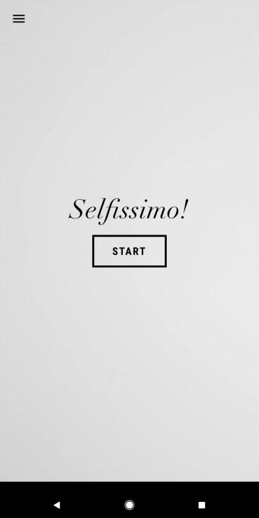 Pantalla inicial de la aplicación Selfissimo