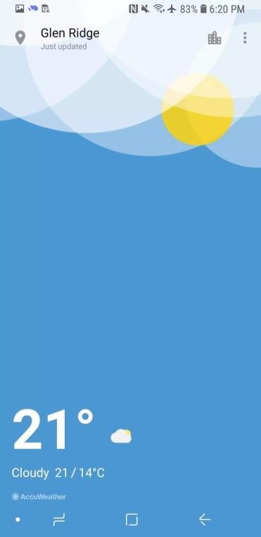 Aplicación El Tiempo del OnePlus 6