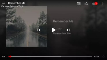 YouTube Music pantalla completa actual
