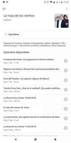 Canales disponibles en Podcasts de Google